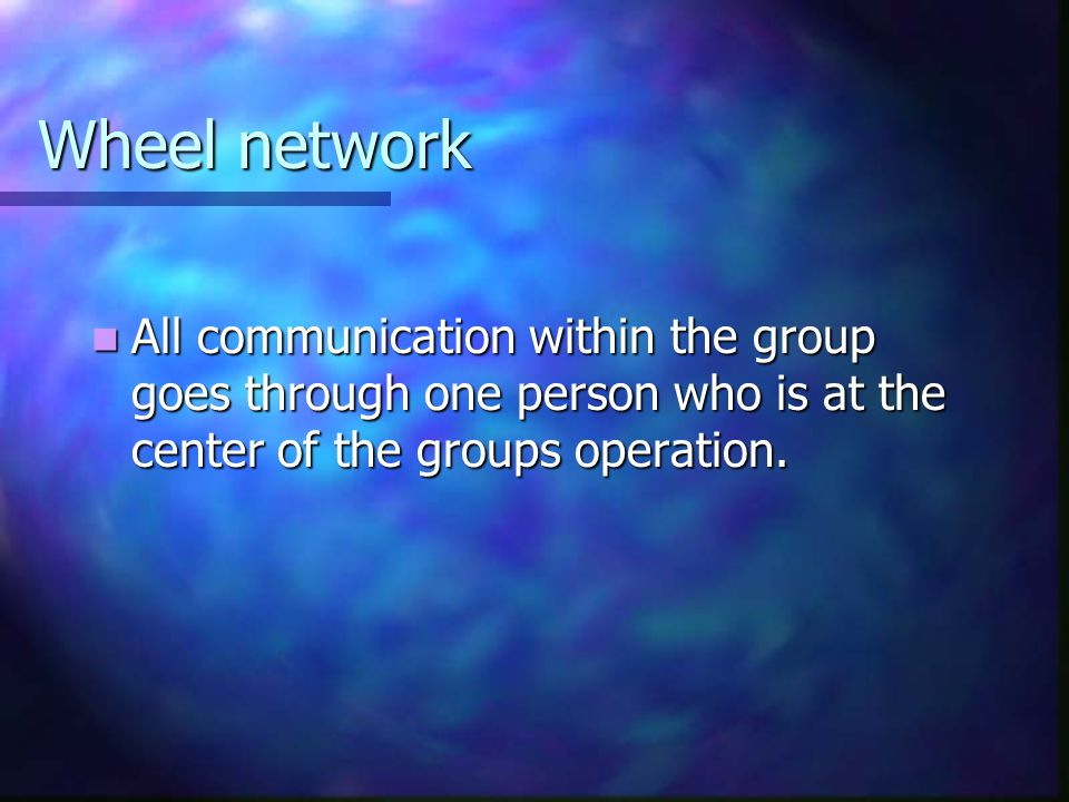 Wheel network All communication within the group goes through one person who is at the center of the groups operation.