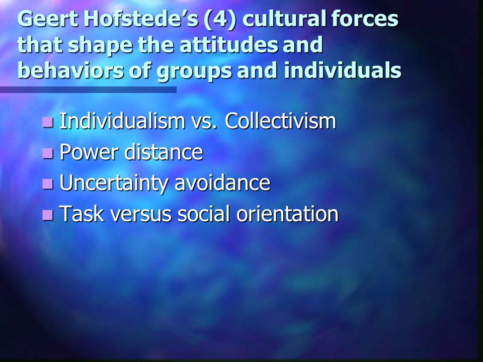 Geert Hofstede's (4) cultural forces that shape the attitudes and behaviors of groups and individuals