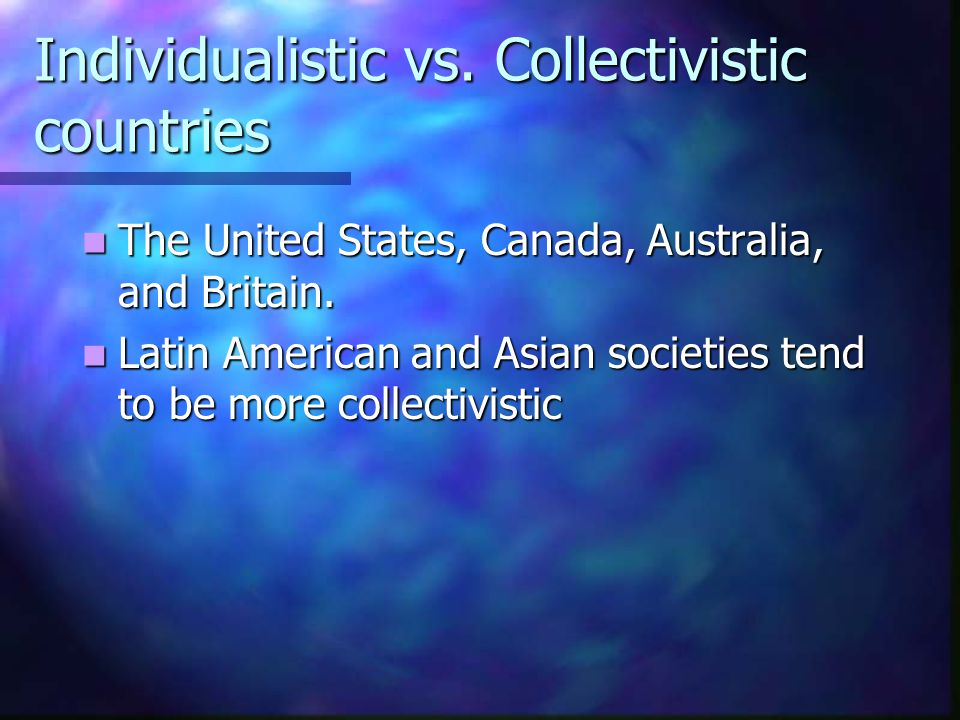 Individualistic vs. Collectivistic countries