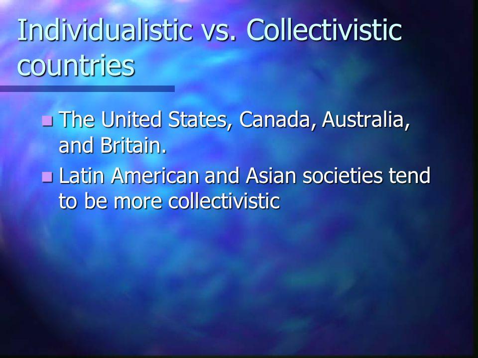 Individualistic vs. Collectivistic countries