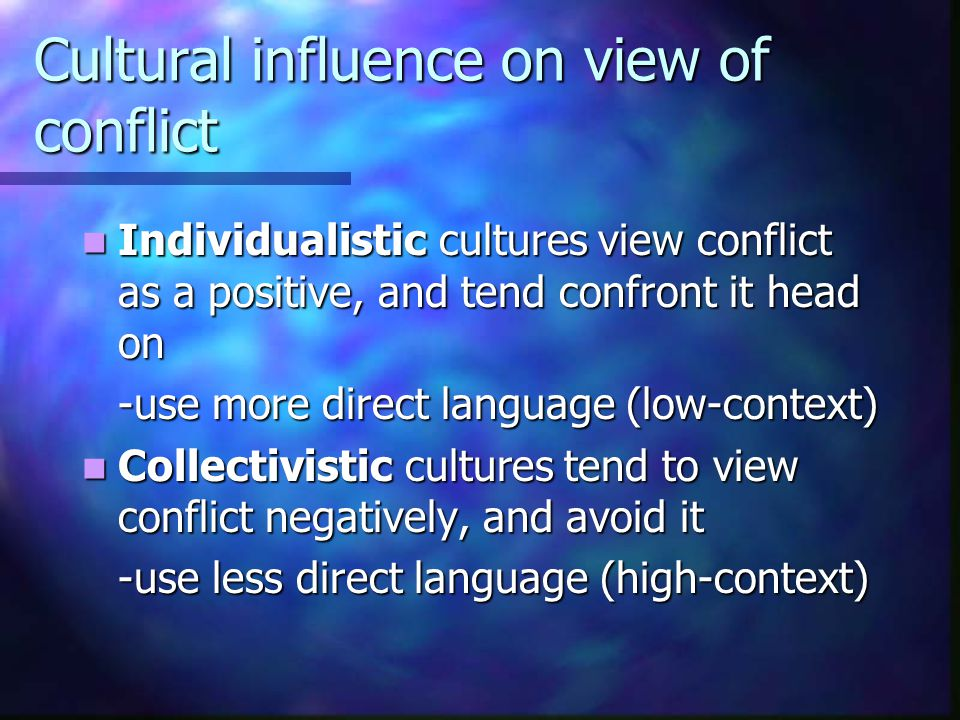 Cultural influence on view of conflict