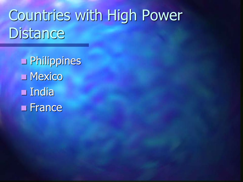 Countries with High Power Distance