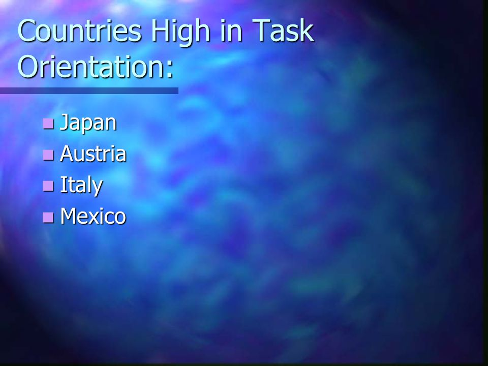 Countries High in Task Orientation:
