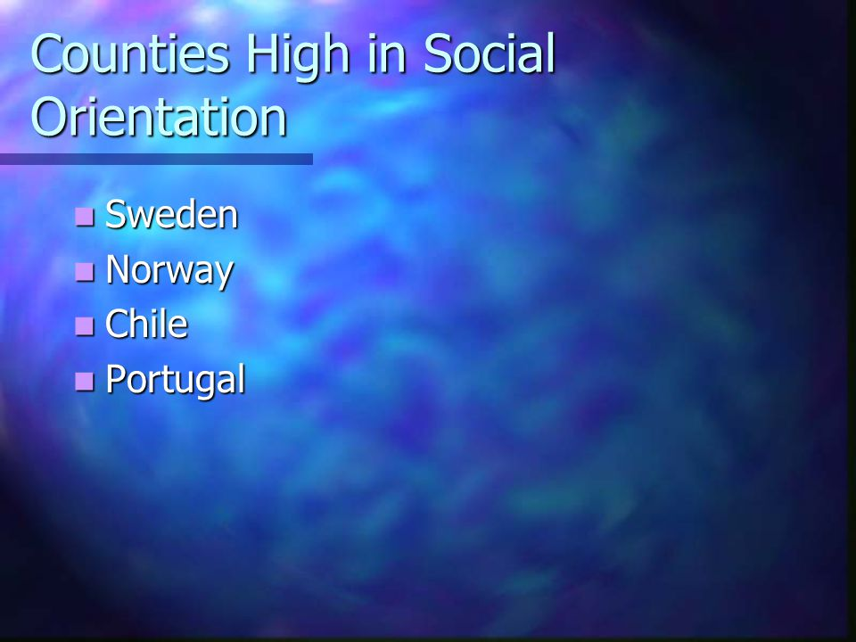 Counties High in Social Orientation
