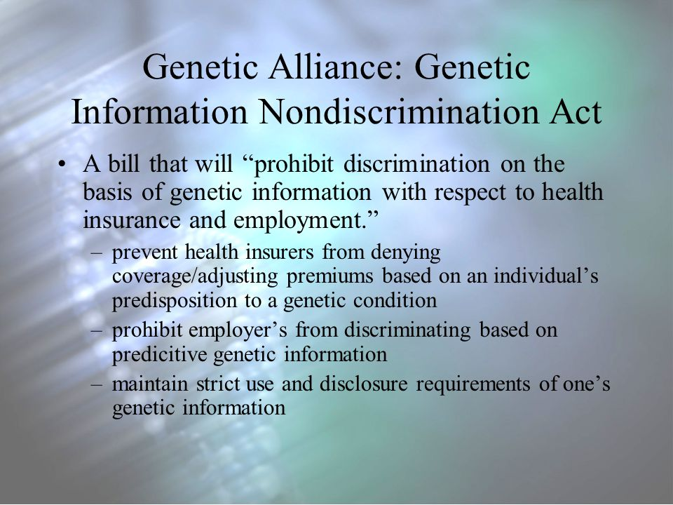 preventing genetic discrimination health insurance companies essay While genetic technology increases the ability to detect and prevent health discrimination by insurance companies  genetic information and the workplace:.