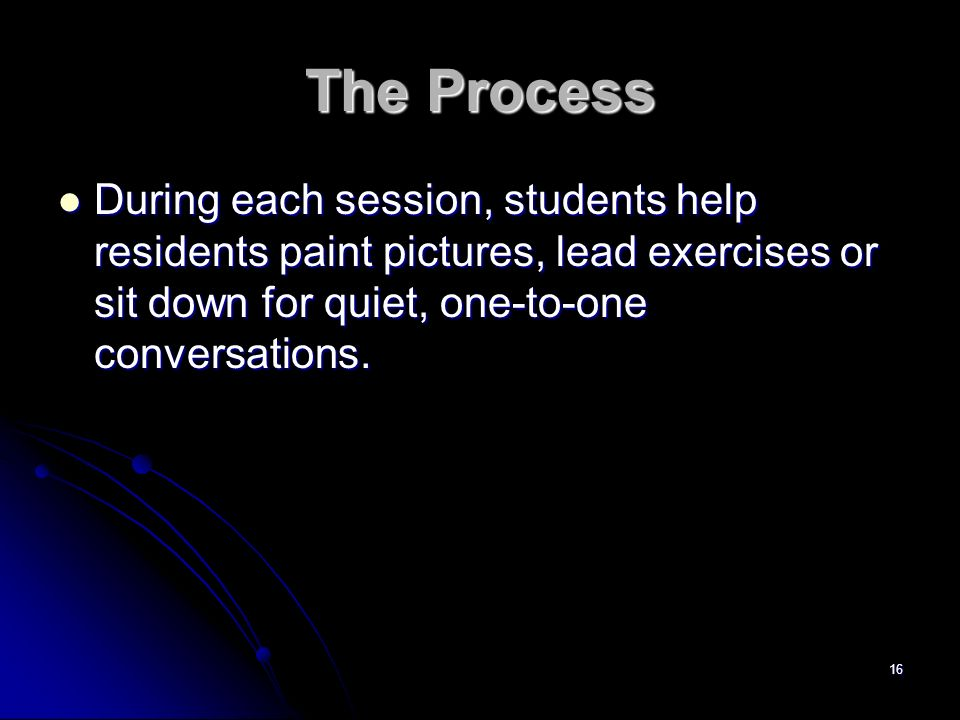 The Process During each session, students help residents paint pictures, lead exercises or sit down for quiet, one-to-one conversations.
