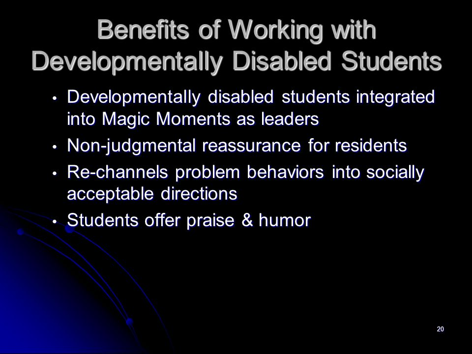 Benefits of Working with Developmentally Disabled Students