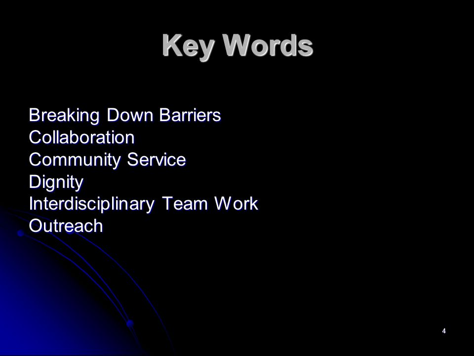 Key Words Breaking Down Barriers Collaboration Community Service