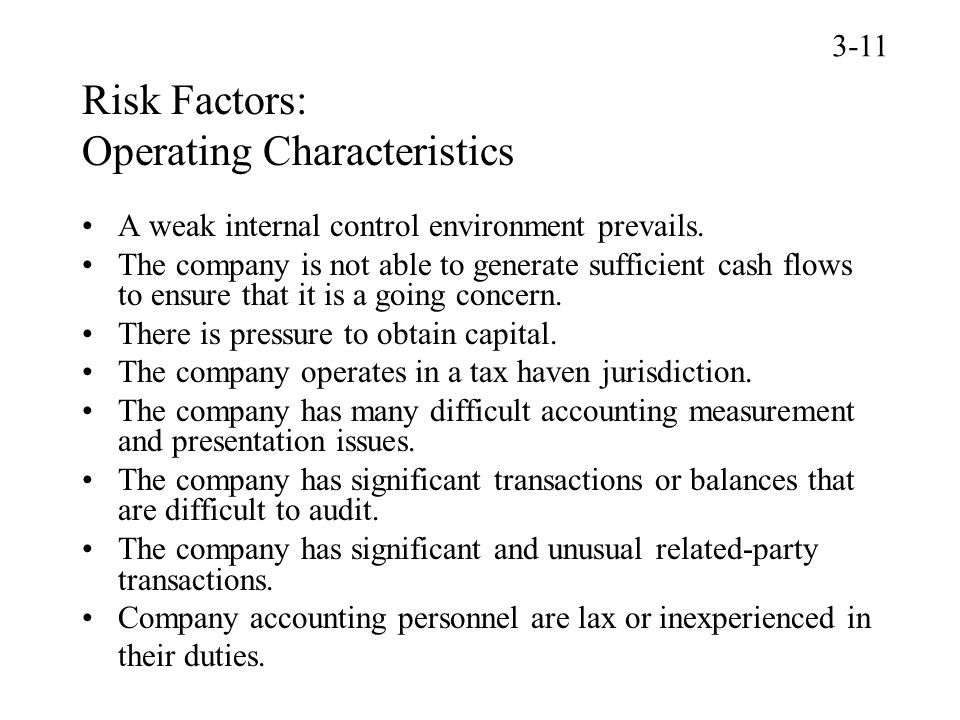 Risk Factors: Operating Characteristics