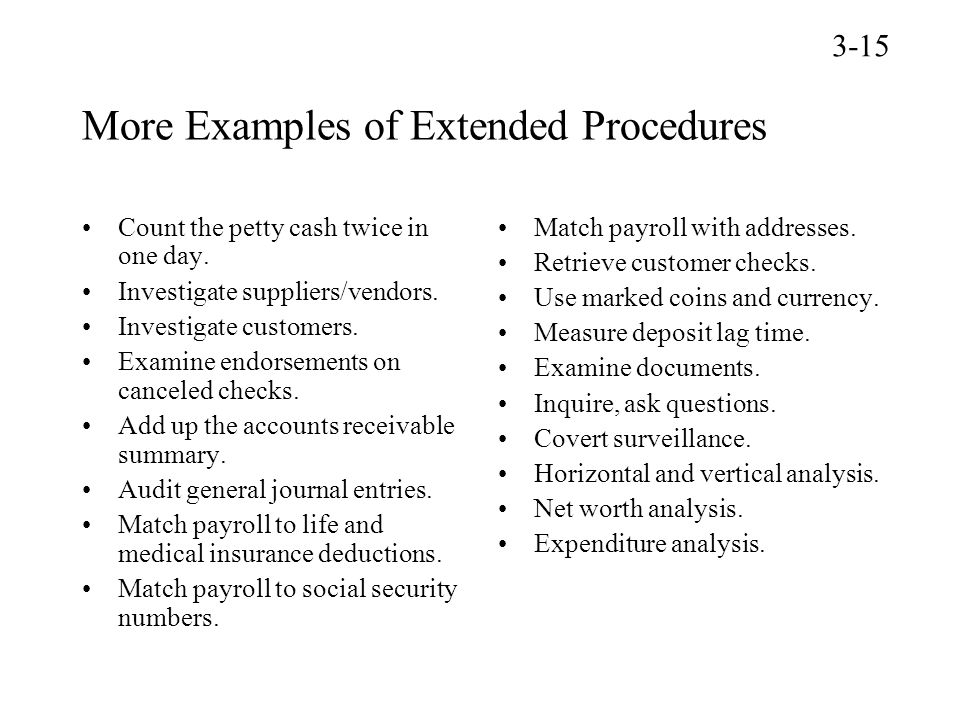 More Examples of Extended Procedures