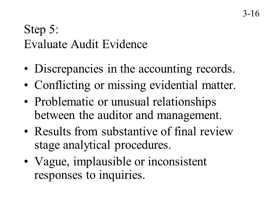Step 5: Evaluate Audit Evidence