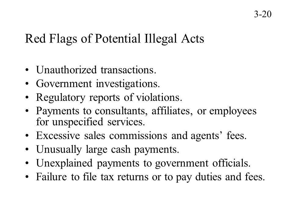 Red Flags of Potential Illegal Acts