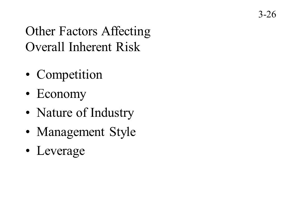 Other Factors Affecting Overall Inherent Risk