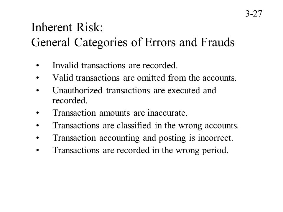 Inherent Risk: General Categories of Errors and Frauds