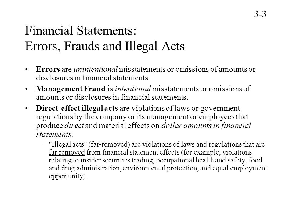 Financial Statements: Errors, Frauds and Illegal Acts