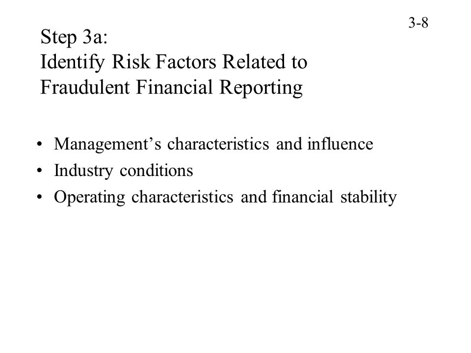 3-8 Step 3a: Identify Risk Factors Related to Fraudulent Financial Reporting. Management's characteristics and influence.