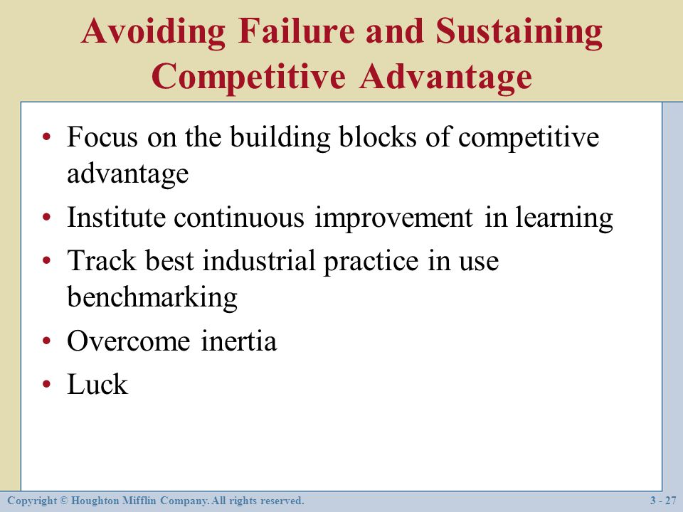 3 internal analysis distinctive competencies competitive for Builders advantage