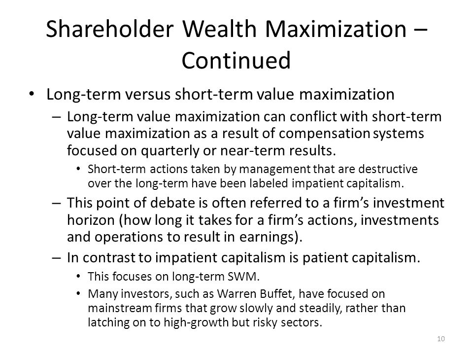 maximization of shareholder wealth 2 essay Objectives of the firm maximization of shareholder wealth then embodies the risk-return tradeoff of the market and is the focal haven't found the essay you.