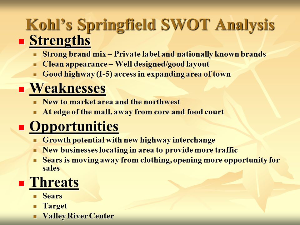 swot analysis of shopping mall External analysis as part of a swot analysis  by people of both sexes who  work full time and prefer to buy everything they need from as few shops as  possible.