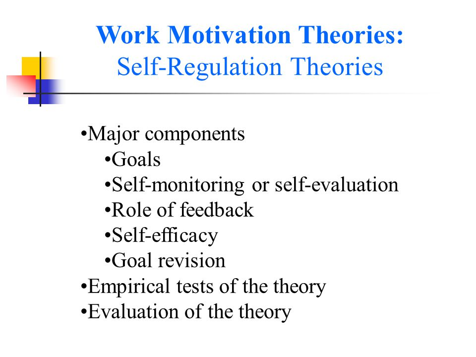 integrating self regulation theories of work motivation Social cognitive theory is a theory of the perception of progress sustains self-efficacy and motivation cybernetic control processes and the self-regulation.