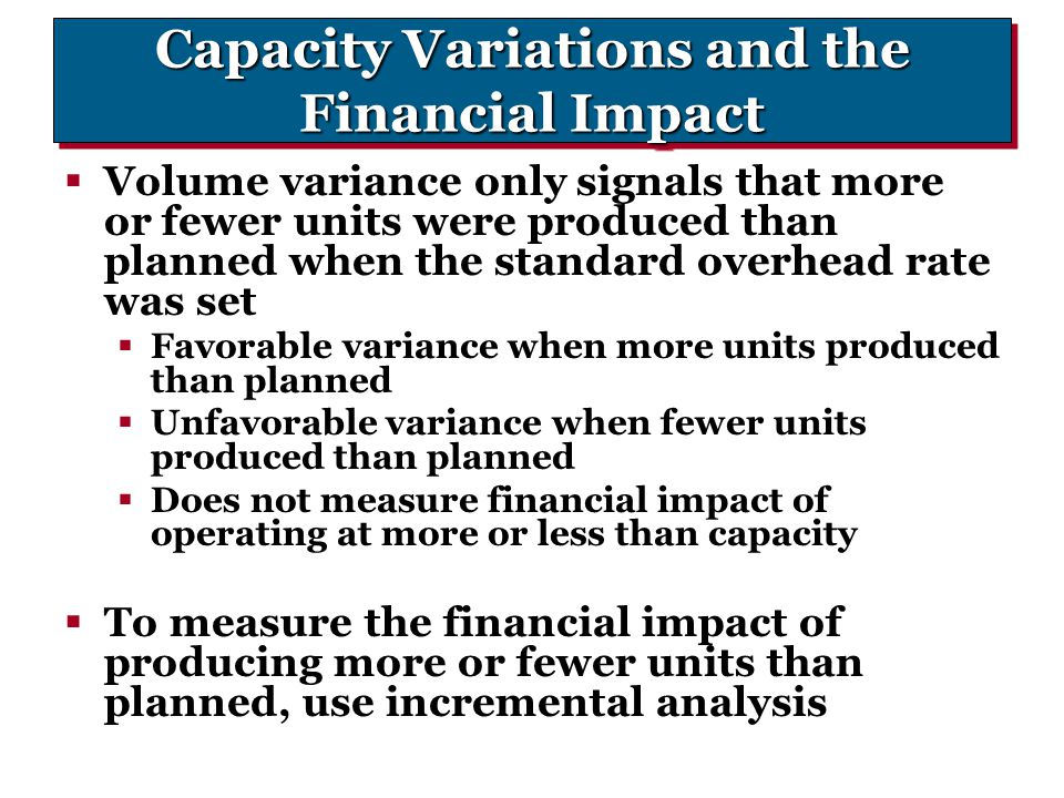 Capacity Variations and the Financial Impact
