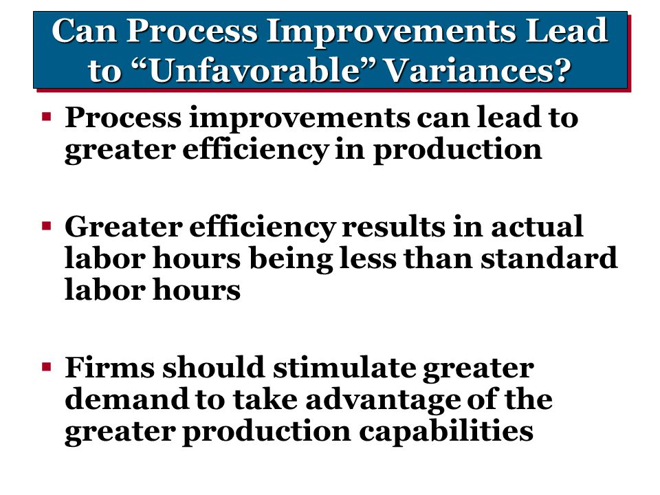 Can Process Improvements Lead to Unfavorable Variances