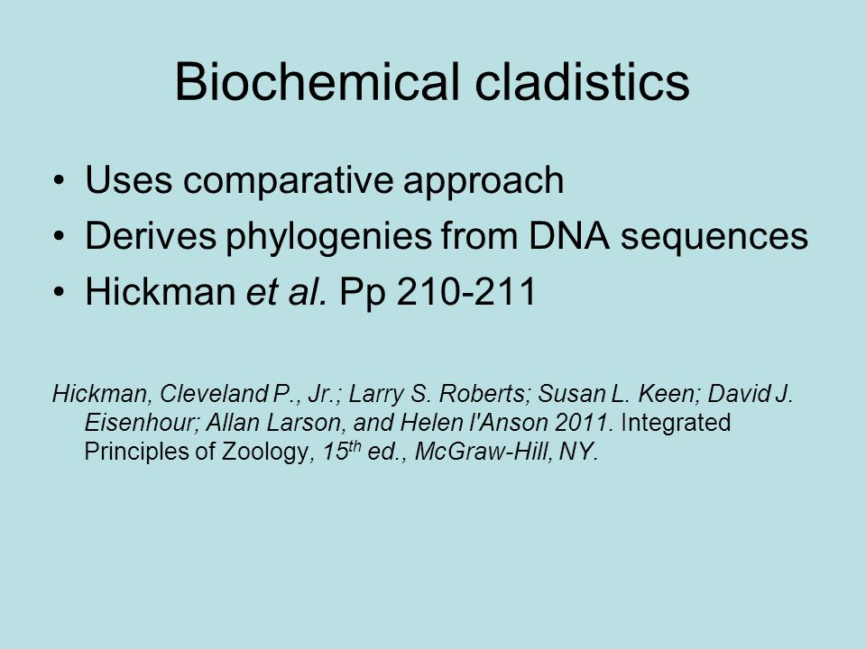 Biochemical cladistics