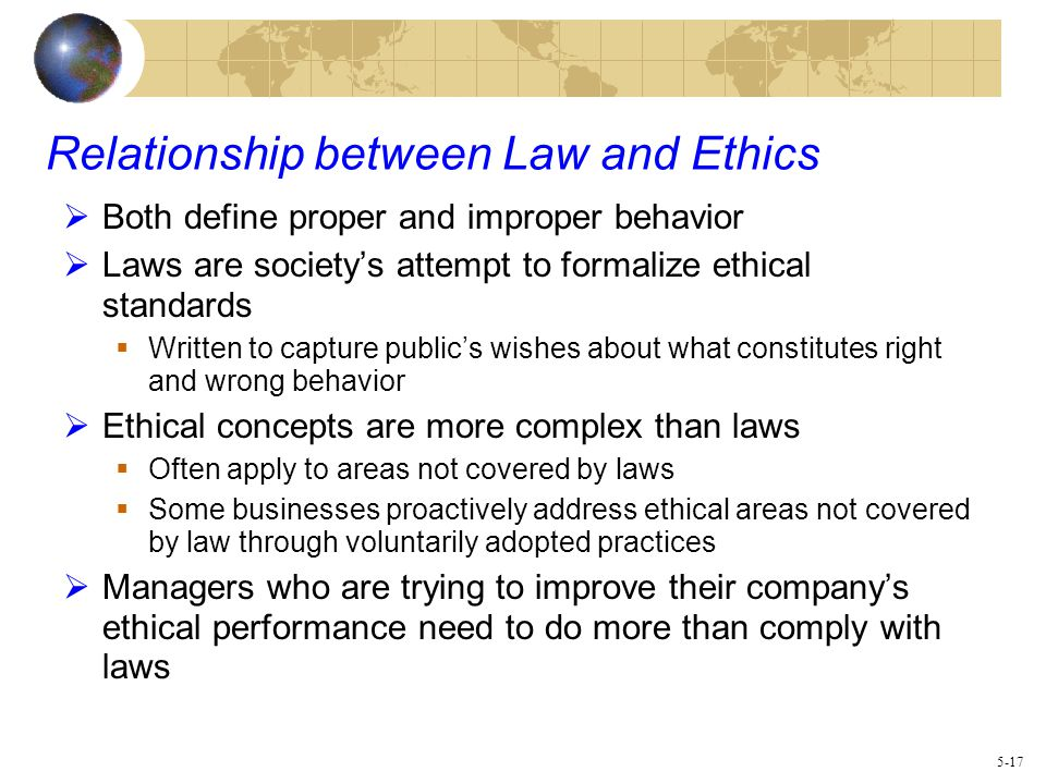 assessing the relationship between law and ethics Psychologists comply with the law and encourage the development of law and   psychologists who engage in assessment, therapy, teaching, research,  (see  also standards 102, relationship of ethics and law, and 104,.