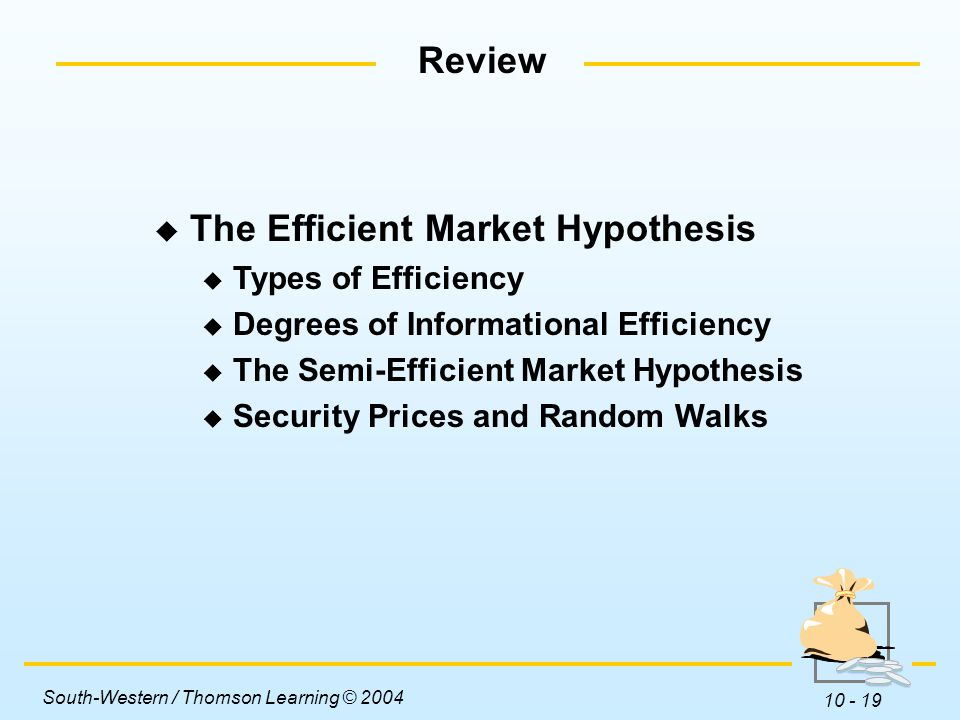 types of efficient market hypothesis The intuition behind the efficient markets hypothesis is pretty straightforward- if the market price of a stock or bond was lower than what available information.