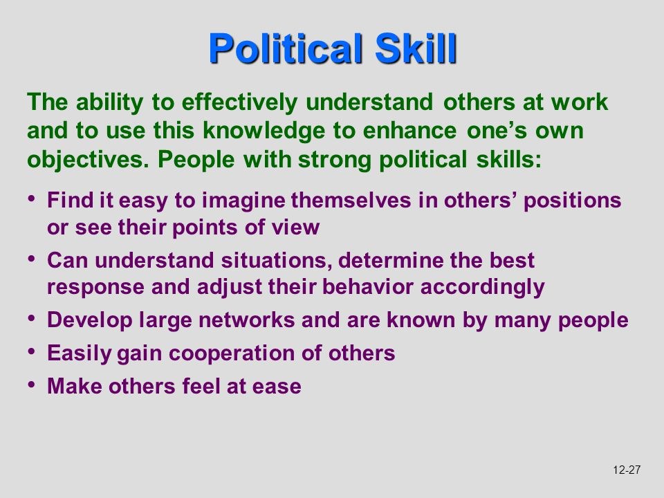 how to develop political skills
