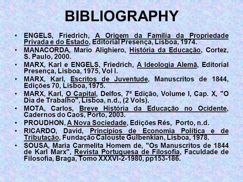 BIBLIOGRAPHY ENGELS, Friedrich, A Origem da Família da Propriedade Privada e do Estado, Editorial Presença, Lisboa, 1974.