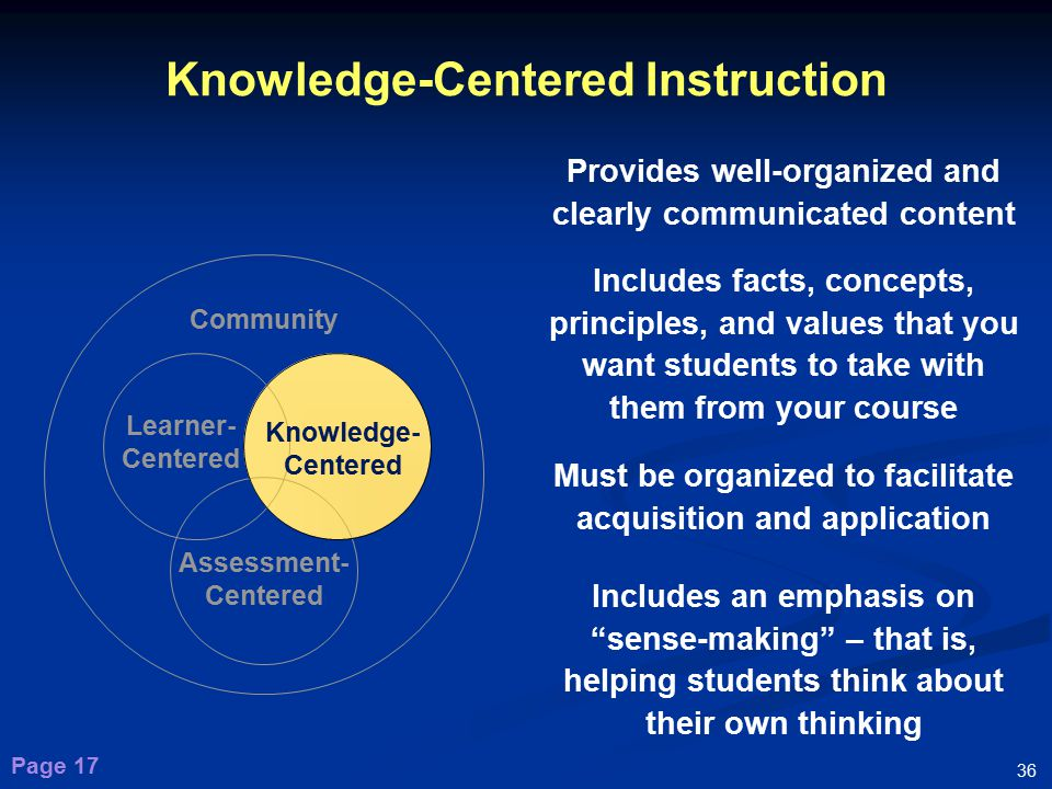 characteristics of a knowledge and value centered Patient-centered: providing care that  not vary in quality because of personal characteristics such  a framework for understanding quality helps them value a.