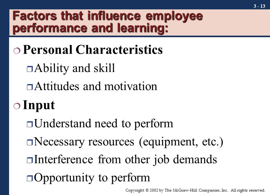 Factors that influence employee performance and learning: