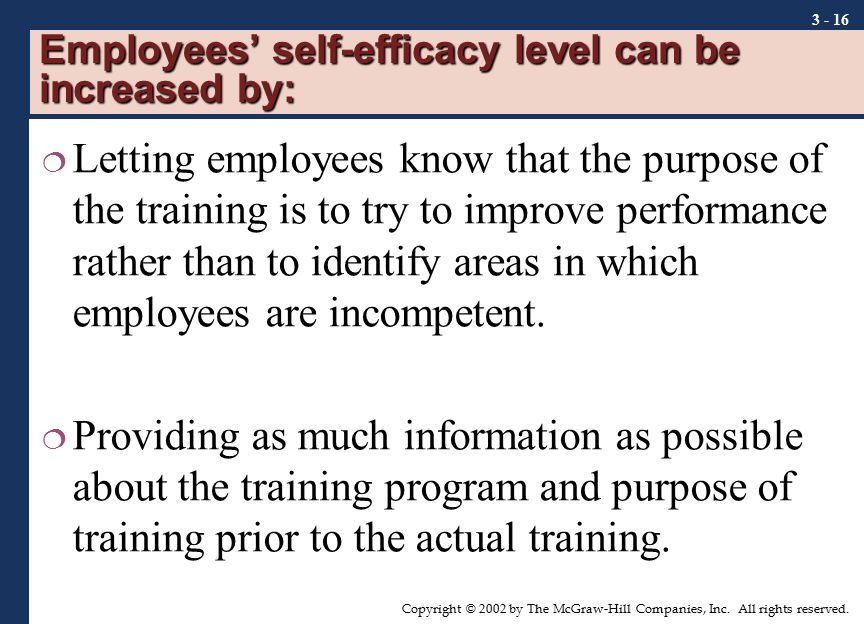 Employees' self-efficacy level can be increased by: