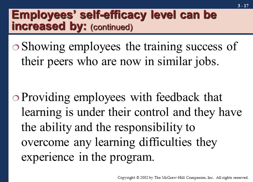 Employees' self-efficacy level can be increased by: (continued)