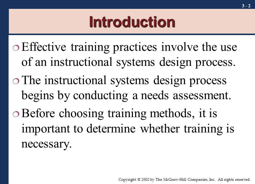 Introduction Effective training practices involve the use of an instructional systems design process.