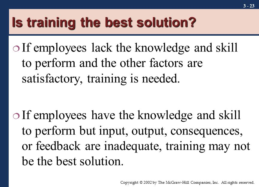 Is training the best solution
