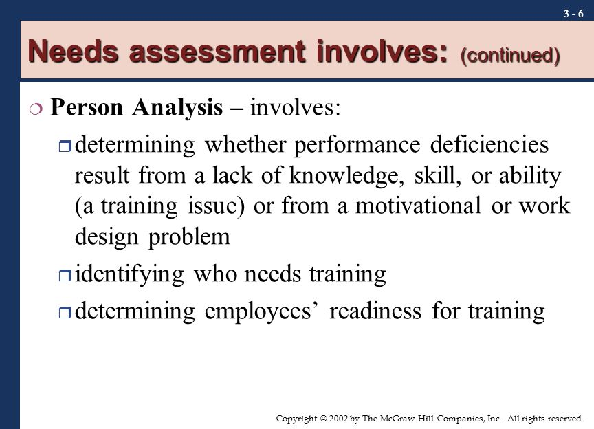 Needs assessment involves: (continued)