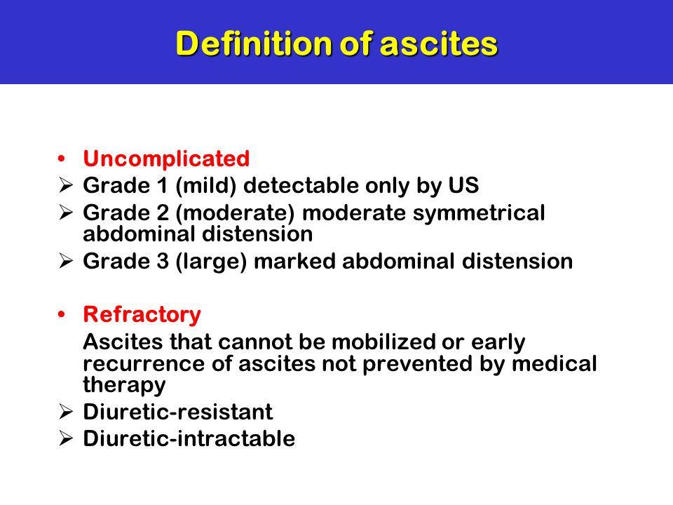 Definition of ascites Uncomplicated