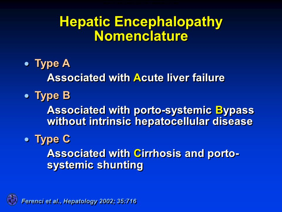 HEPATIC ENCEPHALOPATHY – NOMENCLATURE
