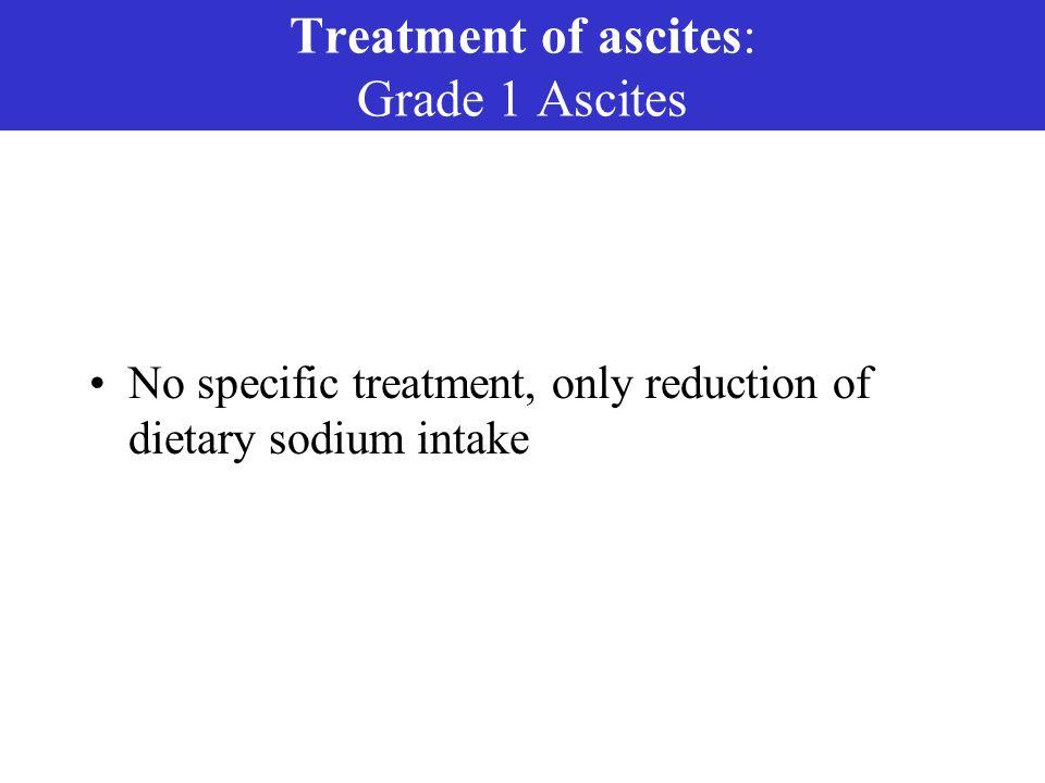 Treatment of ascites: Grade 1 Ascites