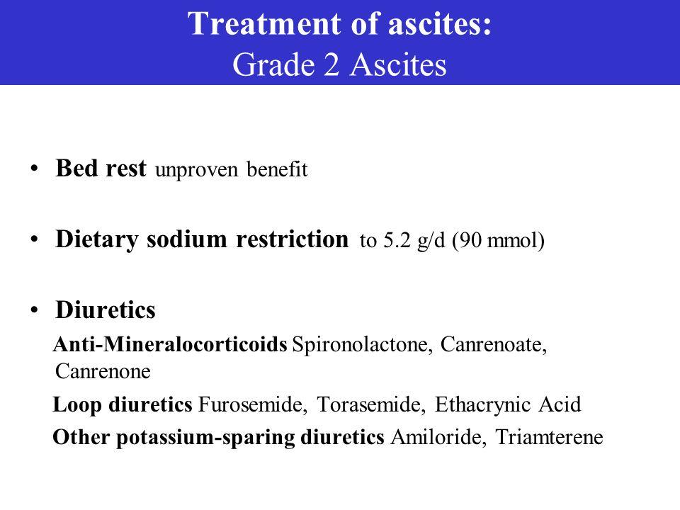 Treatment of ascites: Grade 2 Ascites