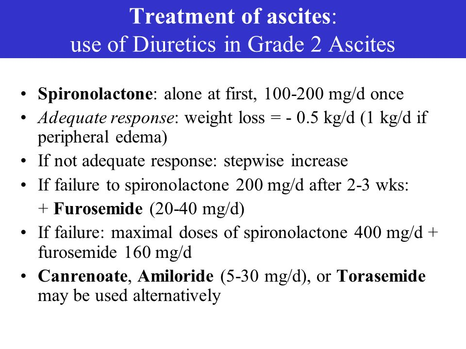 Treatment of ascites: use of Diuretics in Grade 2 Ascites