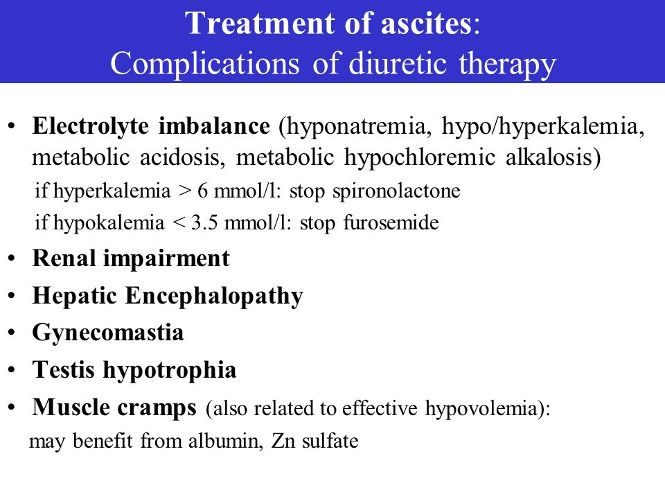 Treatment of ascites: Complications of diuretic therapy