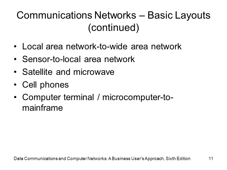 Communications Networks – Basic Layouts (continued)