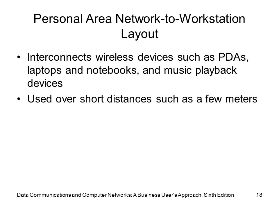 Personal Area Network-to-Workstation Layout