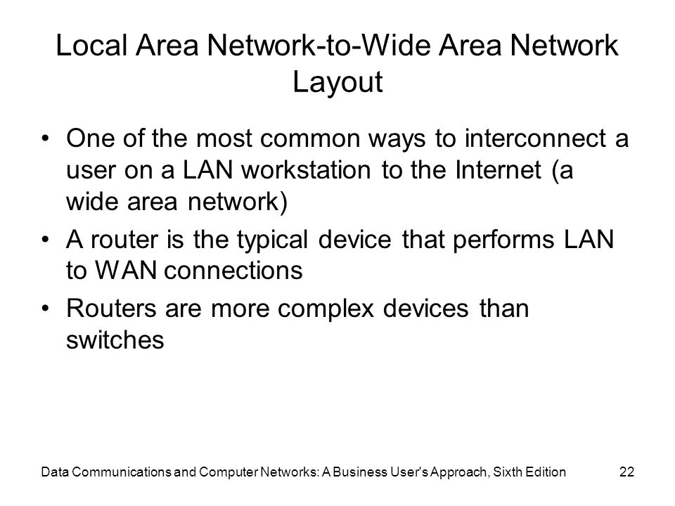 Local Area Network-to-Wide Area Network Layout