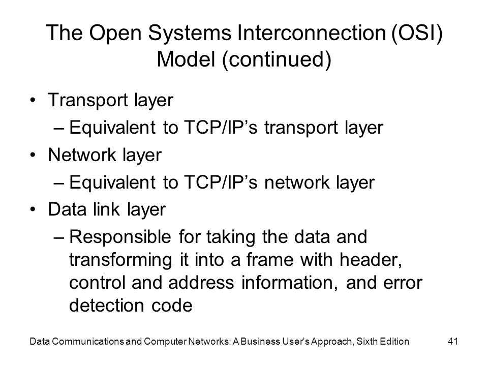 The Open Systems Interconnection (OSI) Model (continued)
