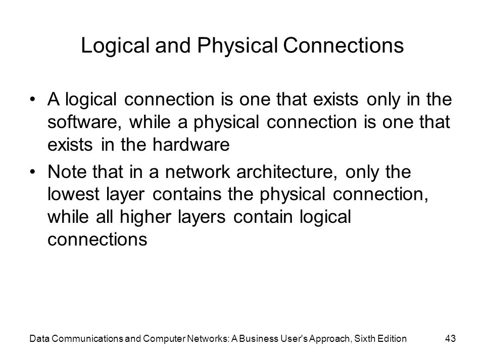 Logical and Physical Connections