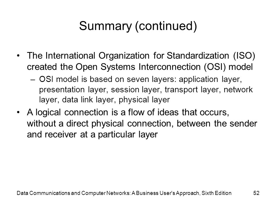 Summary (continued) The International Organization for Standardization (ISO) created the Open Systems Interconnection (OSI) model.
